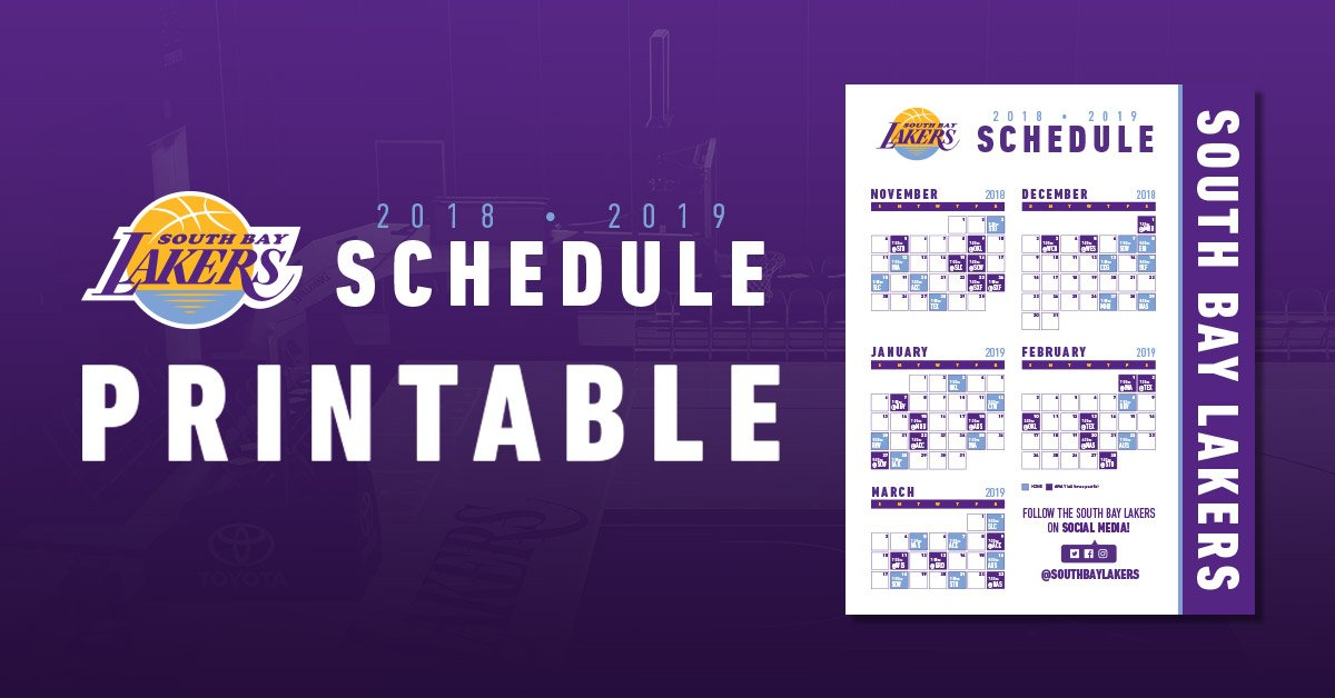 photograph relating to Lakers Printable Schedule titled South Bay Lakers upon Twitter: \