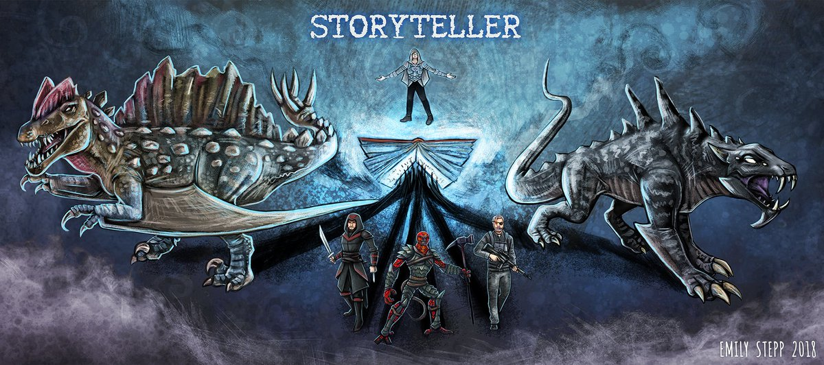 Banner commission featuring some of Storyteller's creatures and characters from his stories.  Check him out on twitch -   #Storyteller #DinosaurHybrid #Creatures #Aliens #Art #CreatureDesign #Drawing #BannerArt #Commission #Magic #Book