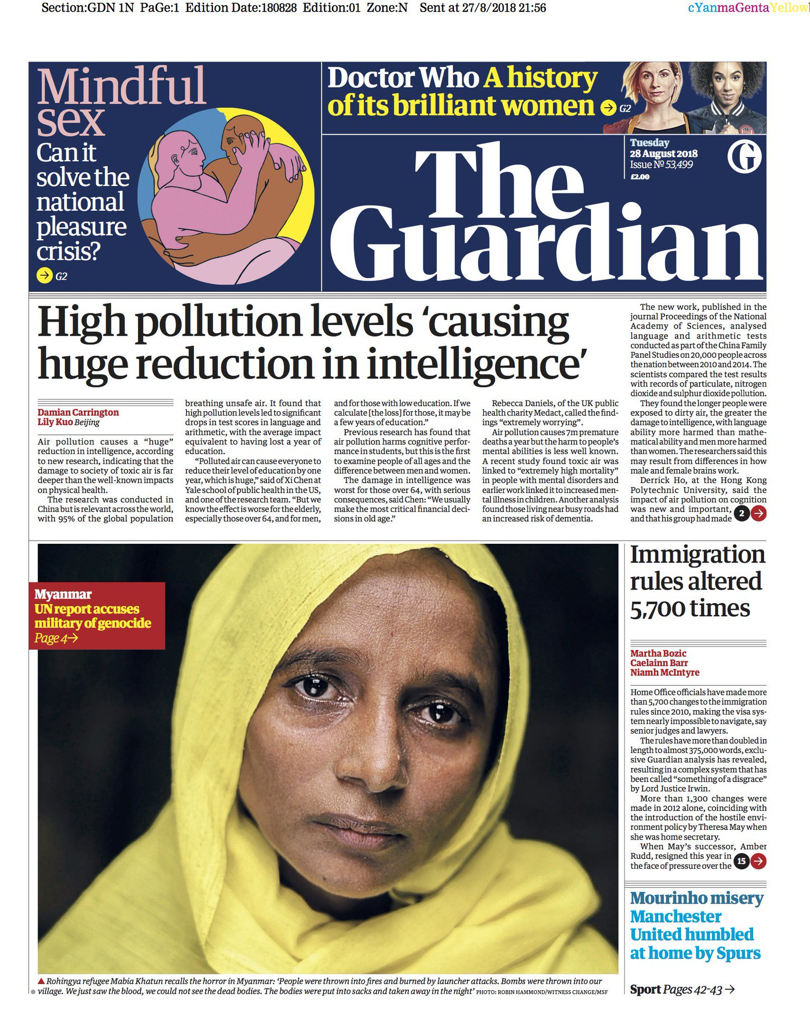 Guardian front page, Tuesday 28 August 2018: High pollution levels 'causing huge reduction in intelligence' https://t.co/MIWwg90JVl