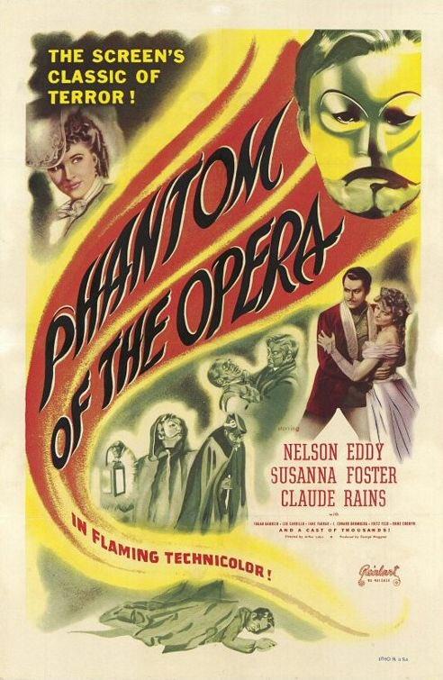 MOVIE HISTORY: 75 years ago today, August 27, 1943, the movie 'Phantom of the Opera' opened in theaters!  #ClaudeRains #NelsonEddy #SusannaFoster #EdgarBarrier #JaneFarrar #JEdwardBromberg #FritzFeld #FrankPuglia #FritzLeiber #StevenGeray #MilesMander #HumeCronynpic.twitter.com/uFFy10tu7o