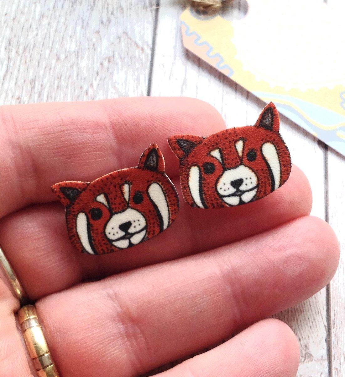Jewelry Panda Stud Earrings Red Panda Stud Earrings Red Panda Earrings Animal
