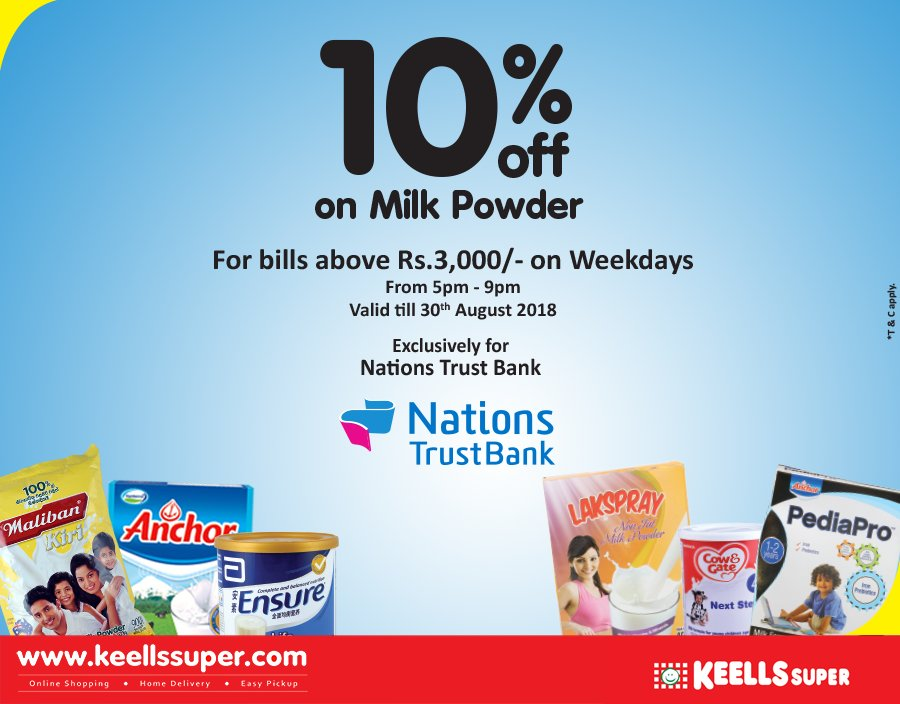 Get a flat 10% off on Milk Powder when you purchase from your Amex Credit Card exclusively at Keells Super! This exciting offer is valid for bills over Rs.3000. *T&C apply https://t.co/GNWZyrGrRT