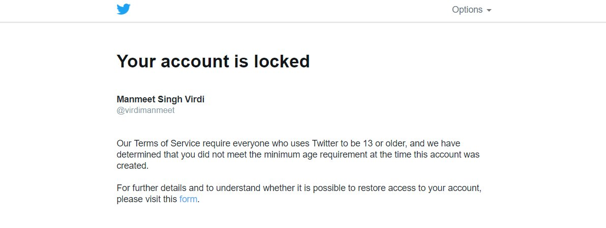 How I LONG TO WAIT FOR MY  SON'S ACCOUNT ACTIVATION ..??Hey twitteria , I am Manmeet and wanted your clarification and statement about my account. If u can't Help me out then tell me directly why should wait for so long.?Username - virdimanmeet@TwitterSupport #BAD Experience