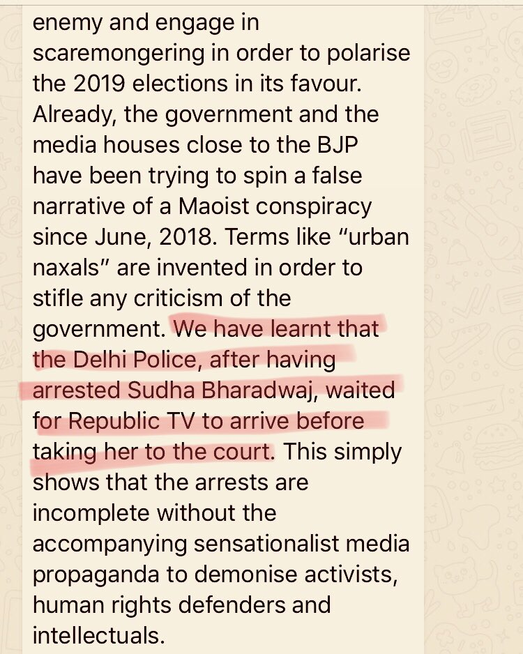"""""""Delhi police, after having arrested @Sudhabharadwaj, waited for @republic TV to arrive before taking her to court"""": from a joint statement condemning the """"nationwide"""" arrest of activists and intellectuals in the #BhimaKoregaon case. #SuburbanNaxals"""