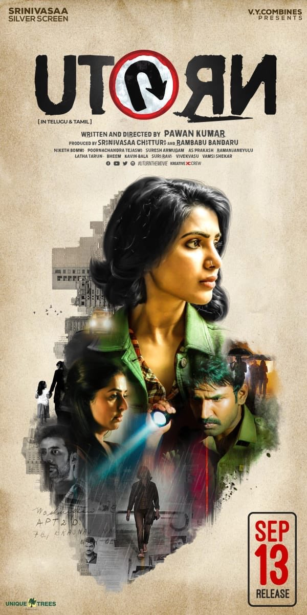 Samantha, Aadhi and Bhumika in U Turn