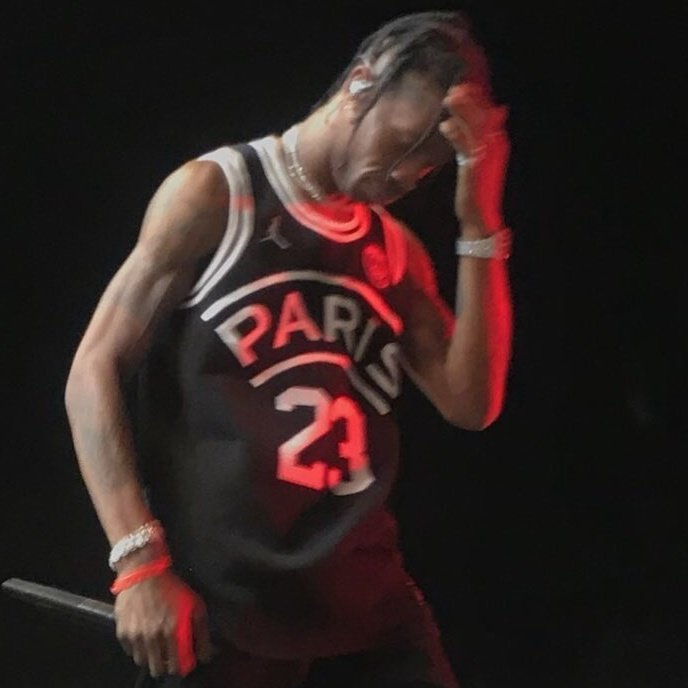 0759c2d87ac Here's Travis Scott in a Jordan x PSG basketball jersey. Giving another  indication that the Paris club could be wearing Jumpman kits for the  Champions ...