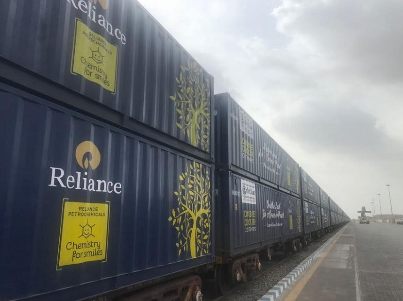 Reliance Industries first company to use Railway's double-stack dwarf container service; Jamnagar – Haryana maiden run successful
