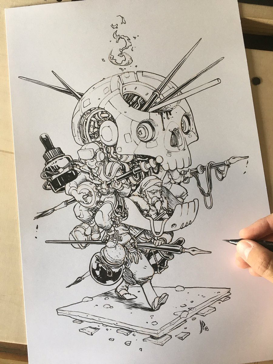 """Jake Parker on Twitter: """"INK-SKULL: Inktober illustration I made to  celebrate the challenge this year.… """""""