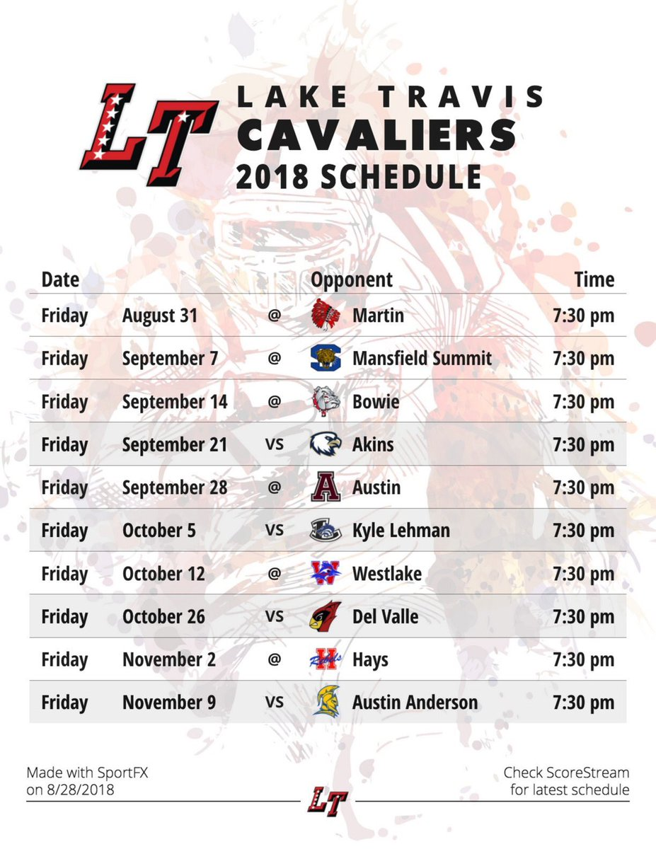graphic relating to Cavs Schedule Printable known as Lake Travis Soccer upon Twitter: \