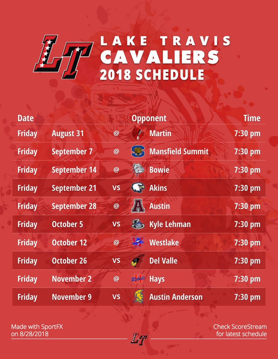 picture regarding Cavs Printable Schedule titled Lake Travis Soccer upon Twitter: \
