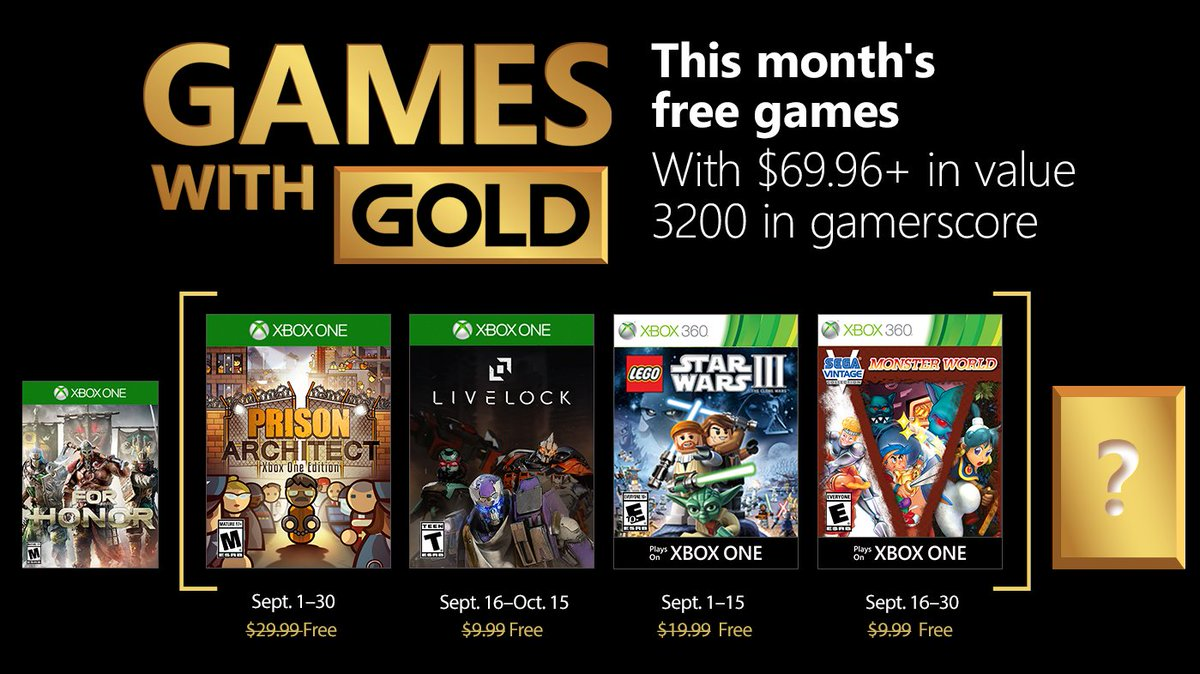 Xbox Live Games with Gold September 2018