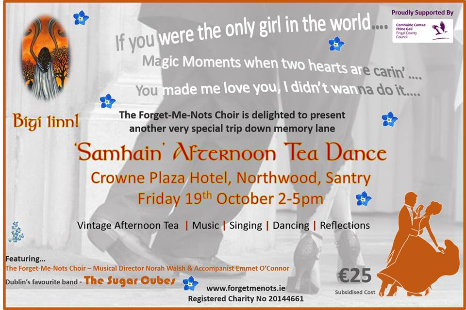 Time to book our popular Afternoon Tea Dance! This time 'Samhain' themed in the wonderful @crowneplazadub Northwood, Santry on Friday 19th October from 2-5pm. Tickets always sell out fast so send your booking request by email to info@forgetmenots.ie ASAP - subsidised cost €25. https://t.co/555a8ykJa9