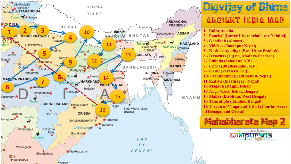 Ancient India Map Bhima Digvijay