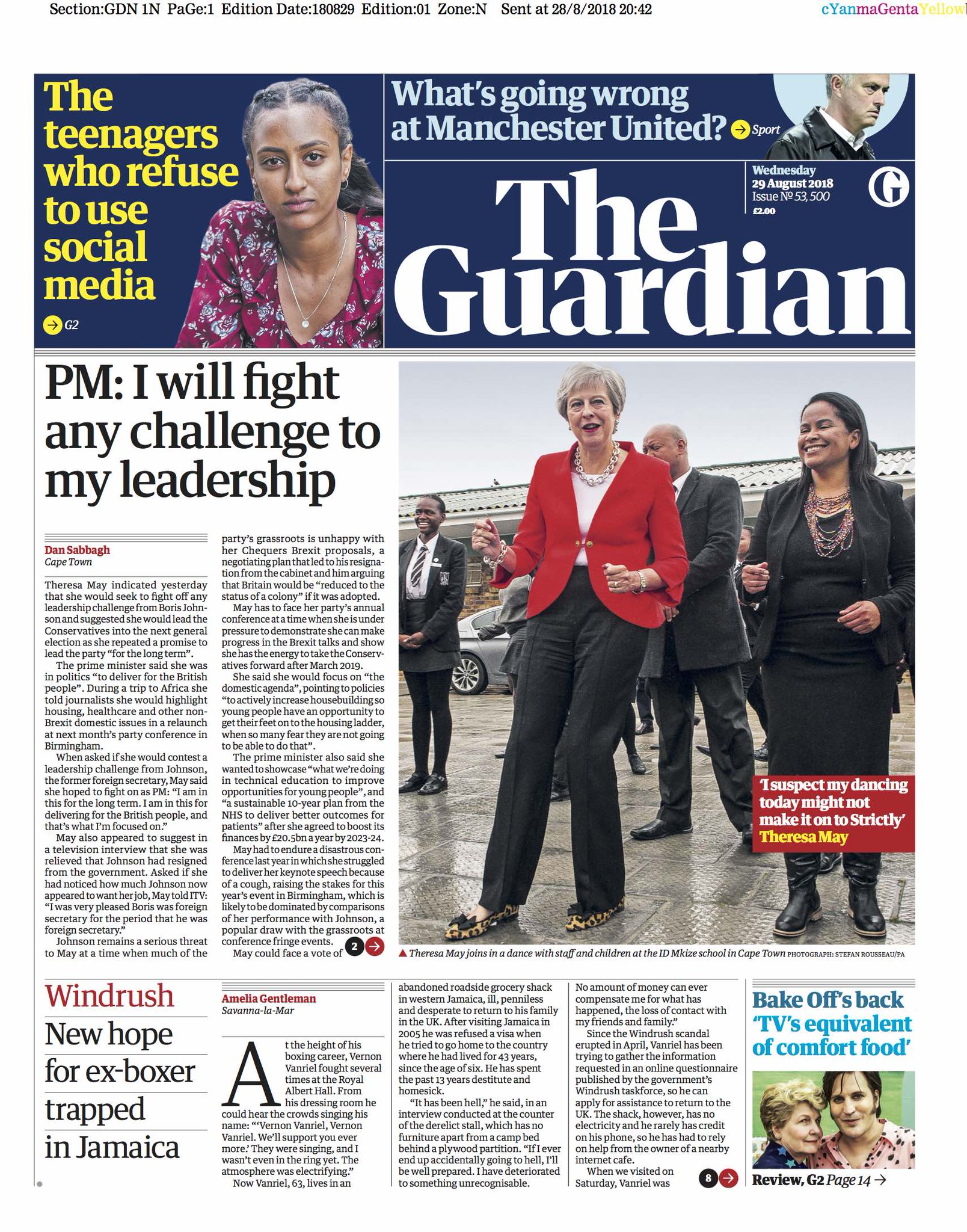 Guardian front page, Wednesday 29 August 2018: PM: I will fight any challenge to my leadership https://t.co/FP4FNMBAg8