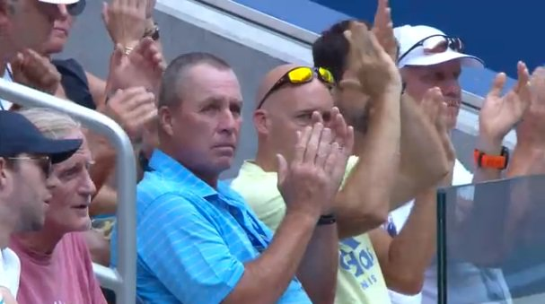 Alexander #Zverev takes the first set over Peter Polansky 6-2.   Ivan Lendl can barely contain his joy.