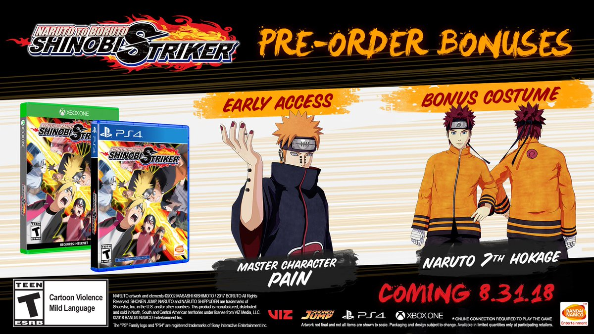 Are you ready to lead your ninja team to victory? Pre-order NARUTO TO BORUTO: #SHINOBISTRIKER to receive early access to Pain + get Naruto's Hokage outfit as a bonus costume!   Pre-Order Today: https://t.co/qwHcb3nqHD