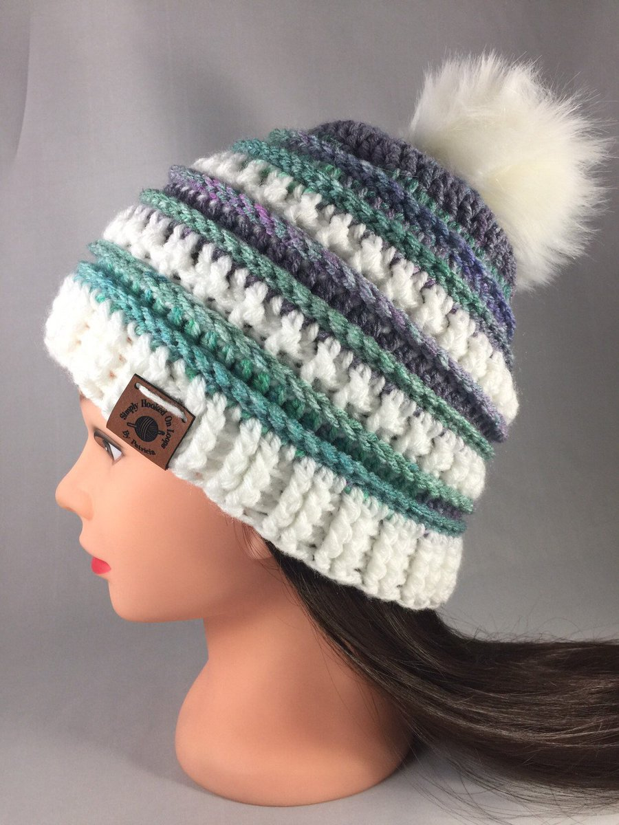 e4cff6e1af7 ... my  etsy shop  Seaside Teen Women s Striped. Excited to share this item  from my  etsy shop  Seaside Teen Women s Striped Textured Pom Pom Hat Beanie  ...
