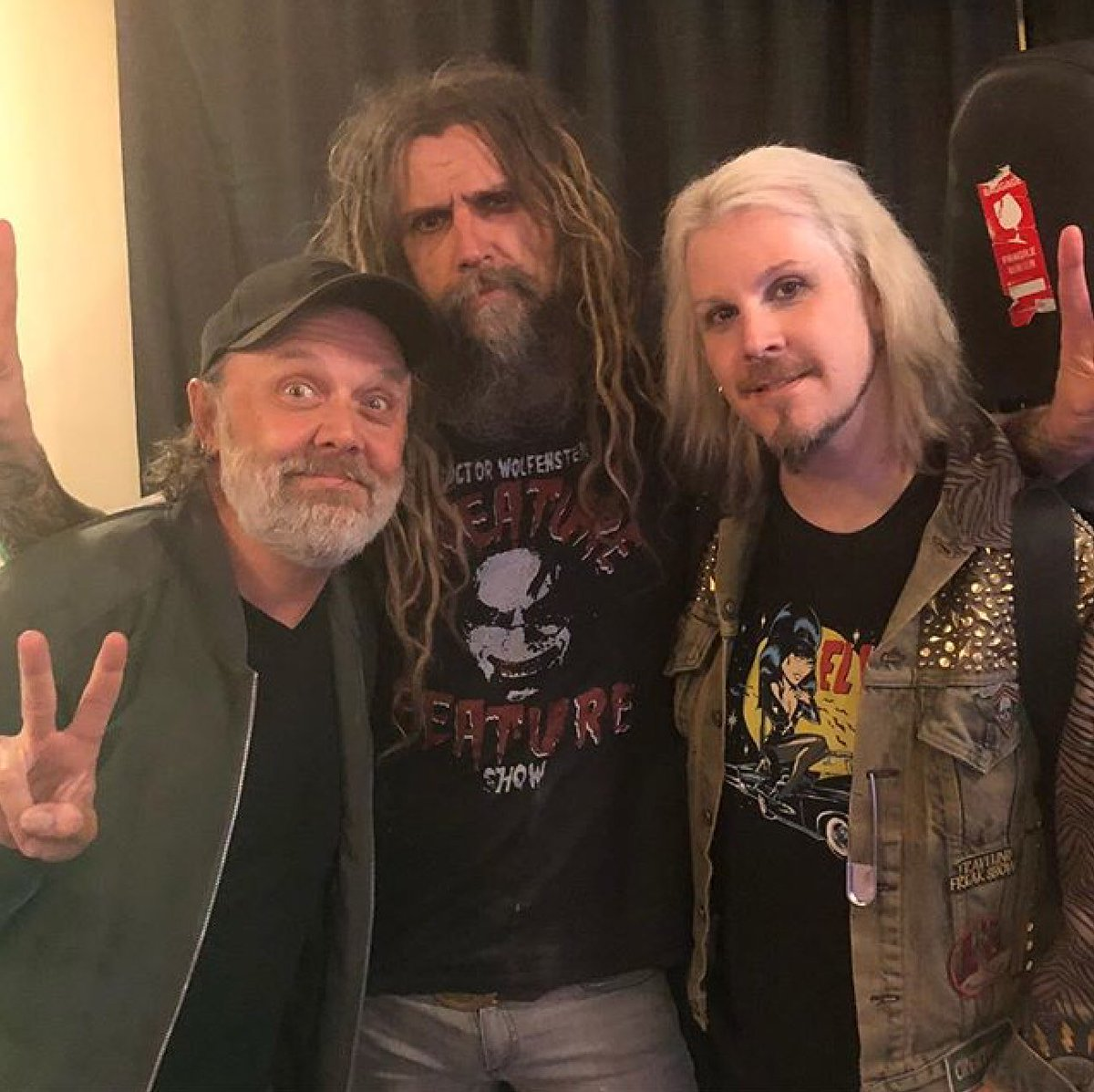 """John 5 on Twitter: """"Got to see @larsulrich tonight at the show. Fun times  @RobZombie #twinsofeviltour #robzombie #john5 #larsulrich #Metallica  #tourlife… https://t.co/JIzemtoqf6"""""""