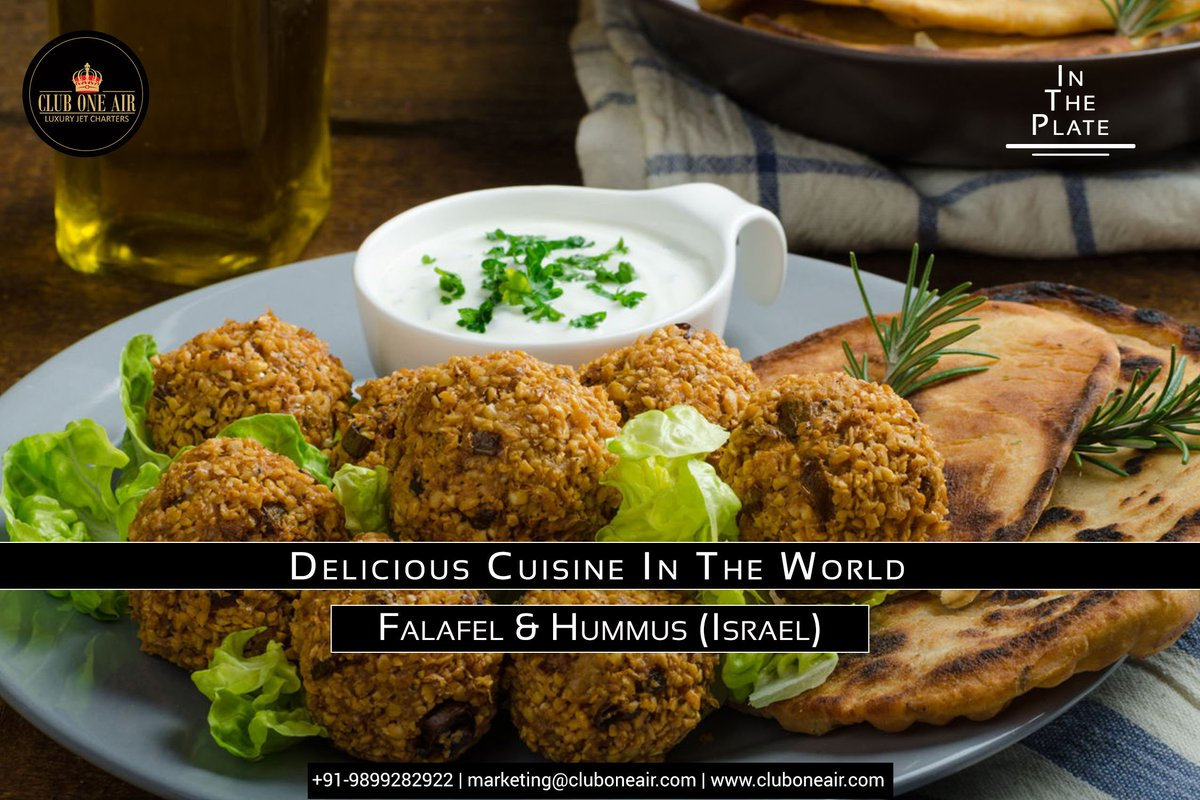 Let Yourself Indulge In Some Delicacies On Your Next Destination Cluboneair Luxury Luxuryintheair Delicious Cuisine Falafel Hummus Isreal