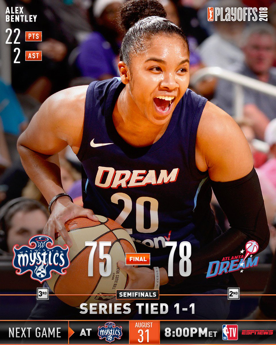 hot sale online db44a b0ea2 The  AtlantaDream even the series at 1, while the  seattlestorm take a 2-0  series lead!  WNBAPlayoffs https   t.co VJrwZmqP6Q