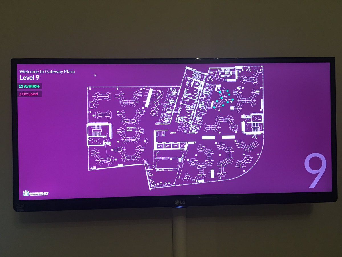 Pic of plasma screen showing floorplate and available desks