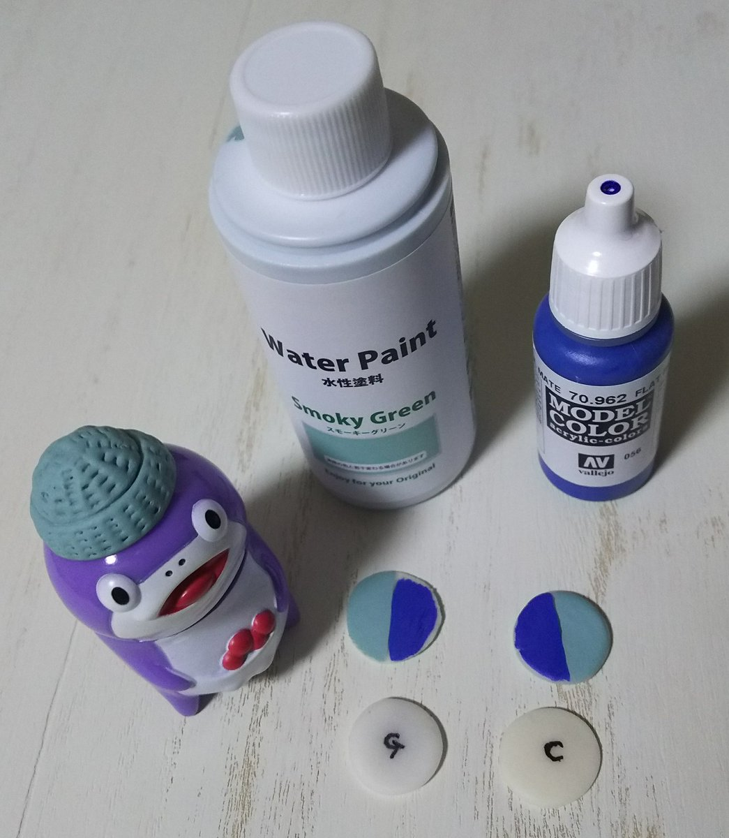 test ツイッターメディア - 帽子はセリアのスモーキーグリーンで塗りました?? (ポンズ師匠ありがとう??)  下の丸いのは試し塗りです?? Gはグレイス、Cはコスモス ファレホの青を半分塗ったので経過を見たいと思いま~す??  それでは、今日はこのへんで??  #コイス #coiss #樹脂粘土 #セリア #ファレホ #半分青い #備忘録 https://t.co/HtLxw68kDf