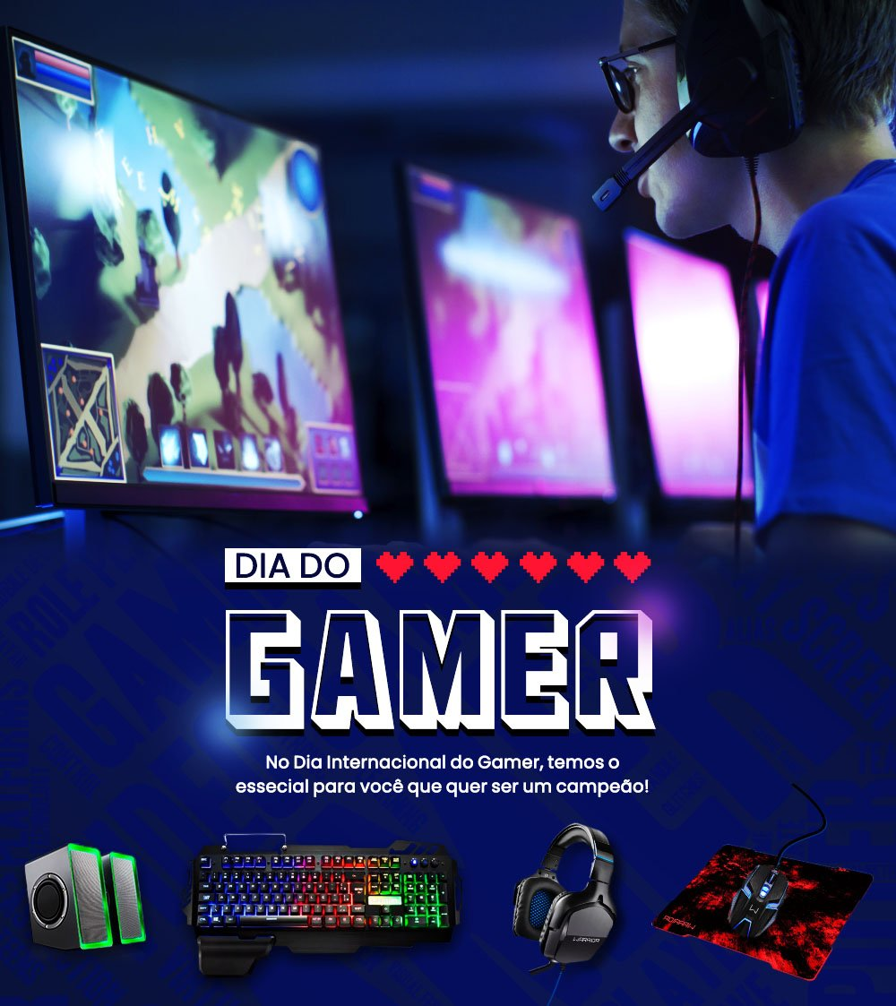 Comemore o Dia do Gamer com tudo o que você precisa para ser um campeão!  Confira nosso catálogo: https://t.co/Pg1O450UZI https://t.co/l9qWbu51l0