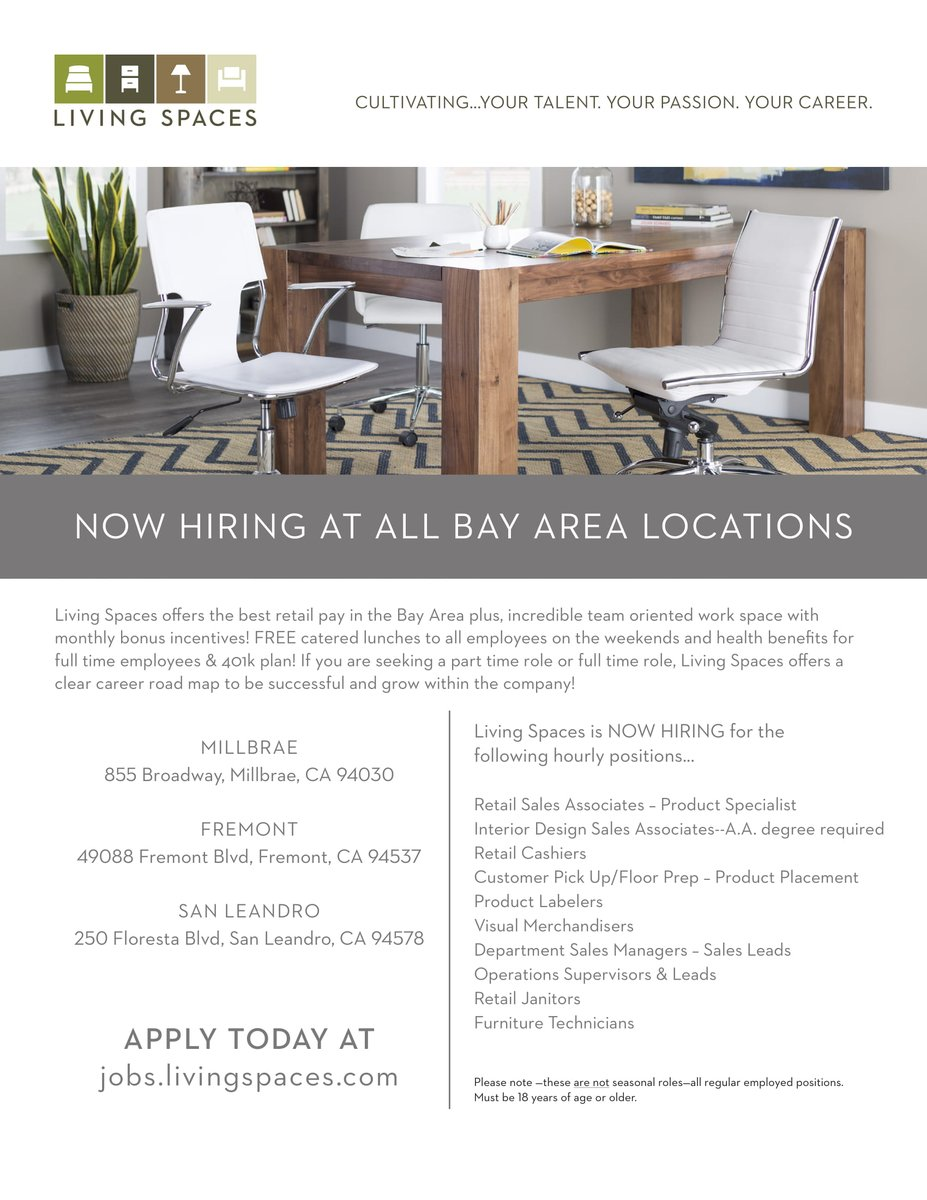 Living Spaces On Twitter Currently Hiring At All Bay Area