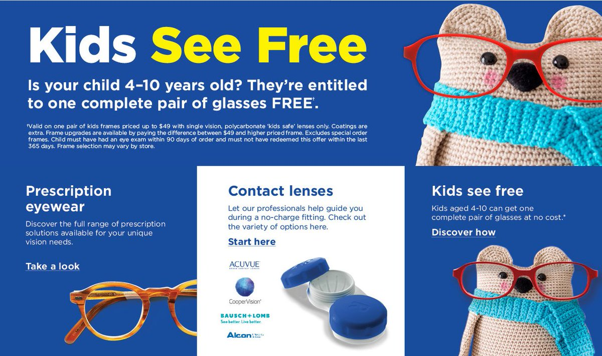 e5c5f2c04f Kids aged 4-10 may be eligible to get one complete pair of glasses at no  cost.  Diall211 to see if their is a store near you.