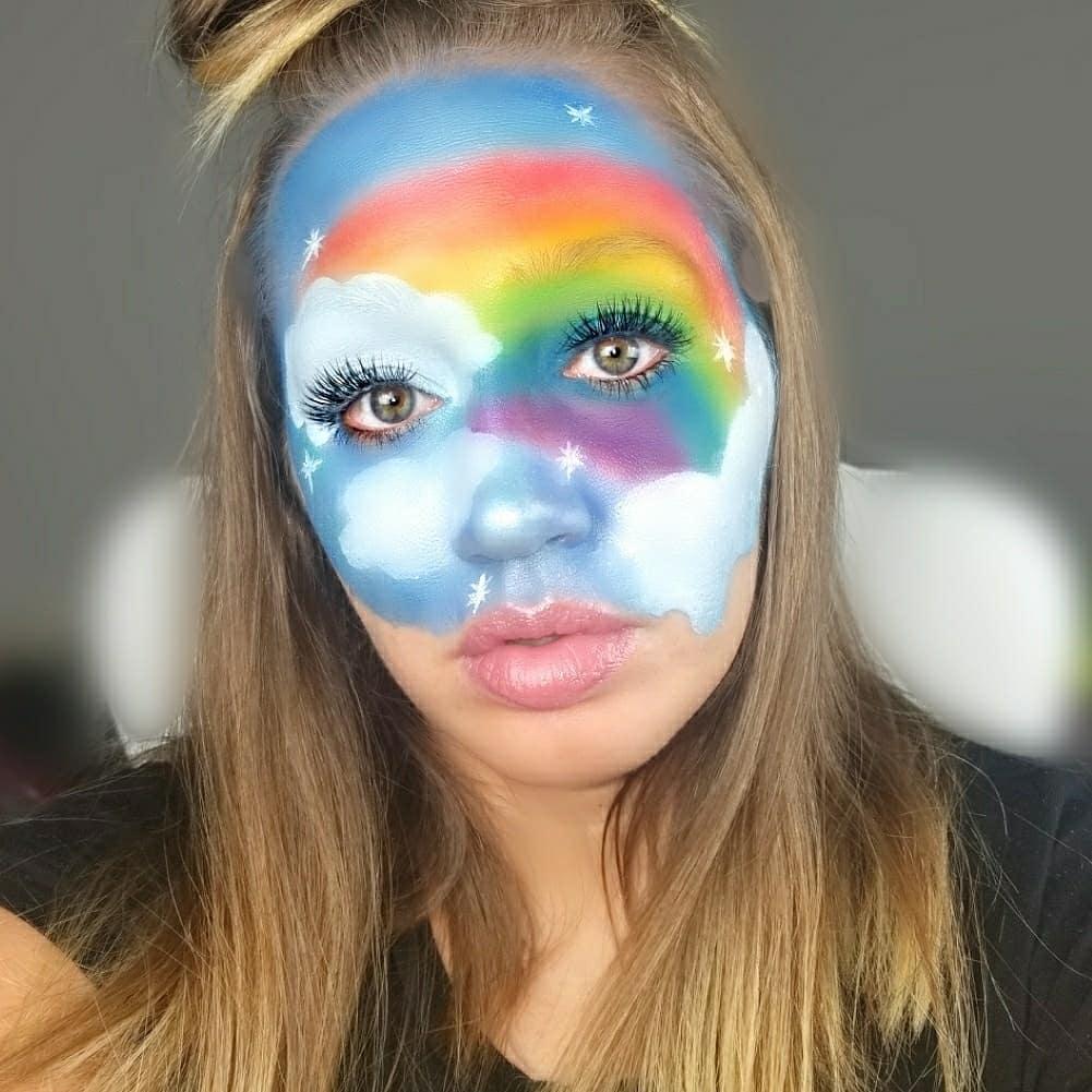 I hope this brings some happiness to your timeline! 😍☀️🌈 Vid coming soon!  Face -@juviasplace @ColourPopCo  @wetnwildbeauty  #JuviasPlace #Colourpop #ColourPopMe #CloudMakeup #RainbowMakeup #HalloweenMakeup #FallMakeup  #UnicornMakeup #Rainbow #Cloud #GodsPromises #WetNWild