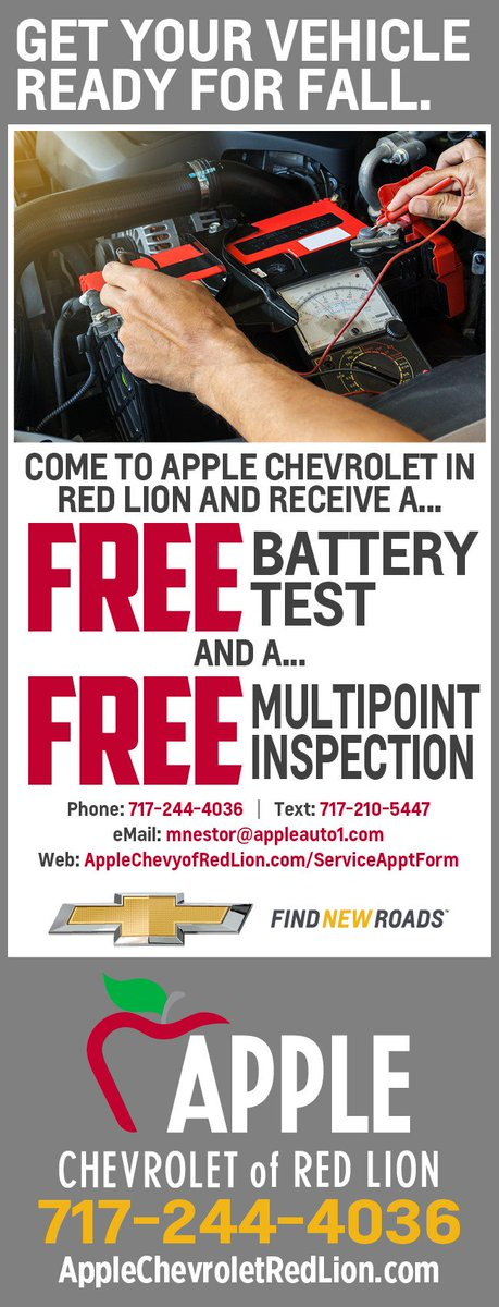 Come To Apple Chevrolet Of Red Lion And Get Your Vehicle Ready For Fall. To  Schedule An Appointment Just Click On This Link. ...