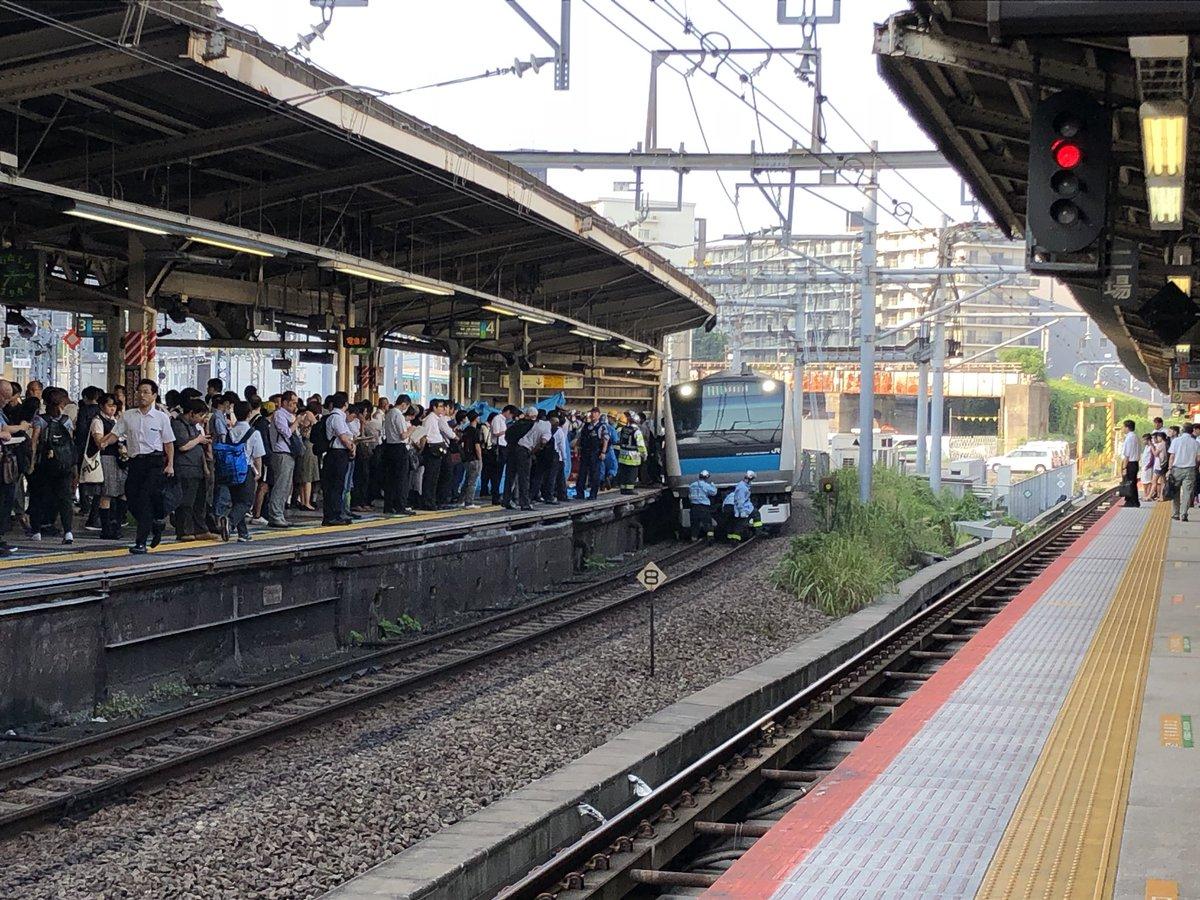 京浜東北線の横浜駅で人身事故の現場の画像