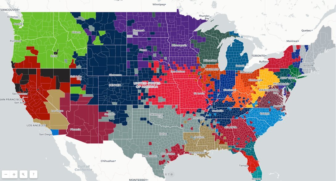 Seat Geek Made A Map Showing Which NFL Teams Every County Roots For. Some Might Surprise You