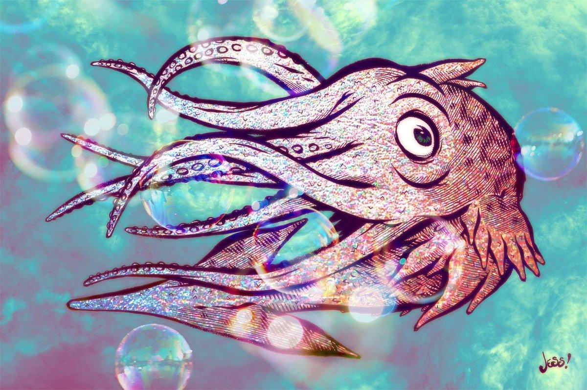 2018 Squid Sealife Kraken Art Illustration Ink Fish Drawing Bubbles Pescado Giantsquid Monster Alien Tentacles Water Ocean Oceanart