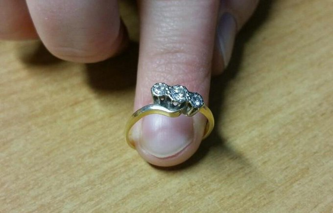 **FOUND ENGAGEMENT RING** The ring has been engraved with an inscription on the inside of the band in which will be used as proof of the rightful owner. If you believe this is yours please enquire at the front desk of the police station at Hunter Lane, Penrith. Photo
