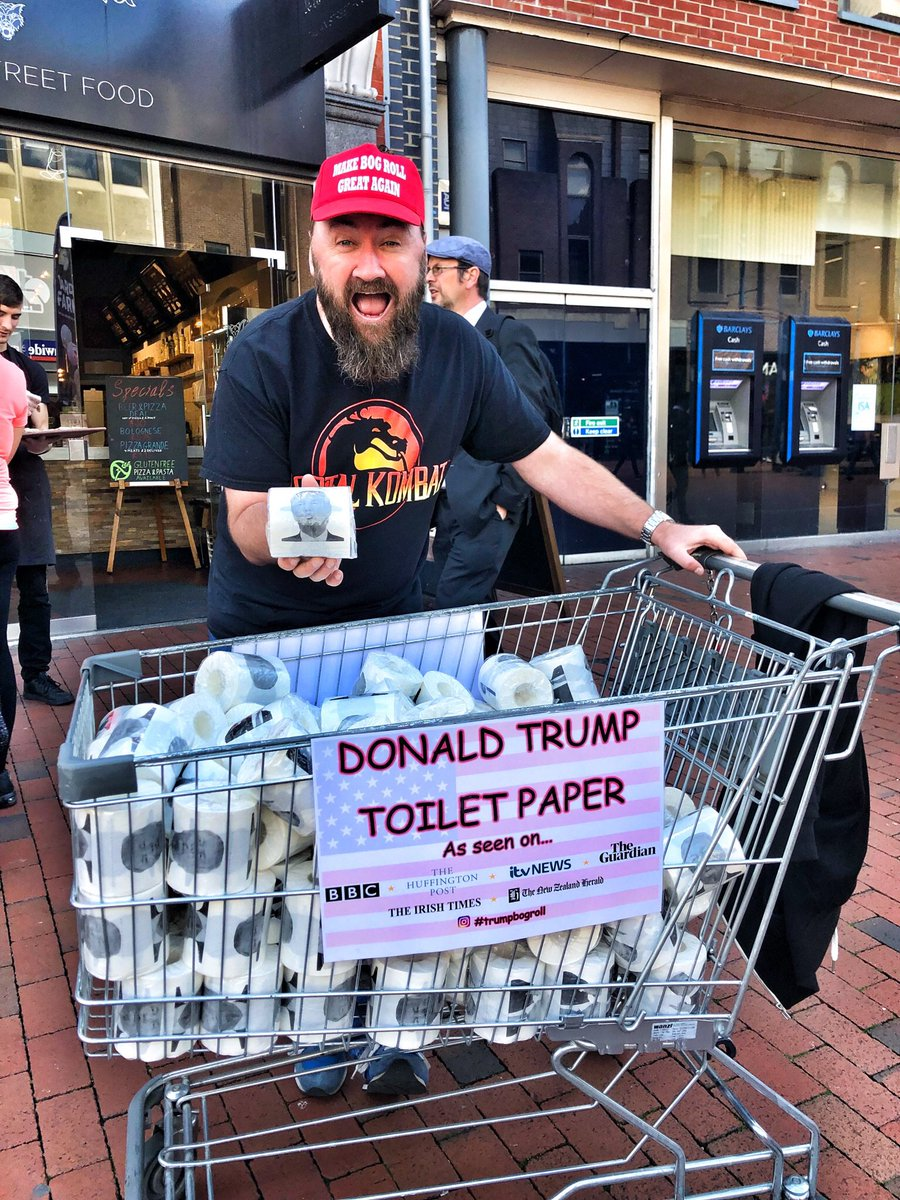 """This brought a massive smile to my face whilst enjoying my lunch. A trolley full of Donald Trump toilet rolls with the vendor shouting out the unforgettable phrase - """"If you need a dump, don't forget to wipe the Trump."""" 😂😂😂😂😂😂😂"""