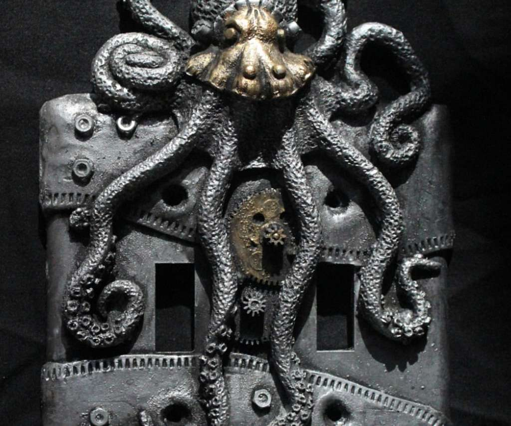 #Design Awesome of the Day: #Steampunk ⚙️ #Octopus 🐙 Light 💡 Switch via @Mearruineconest #SamaDesign #SamaCuriosities