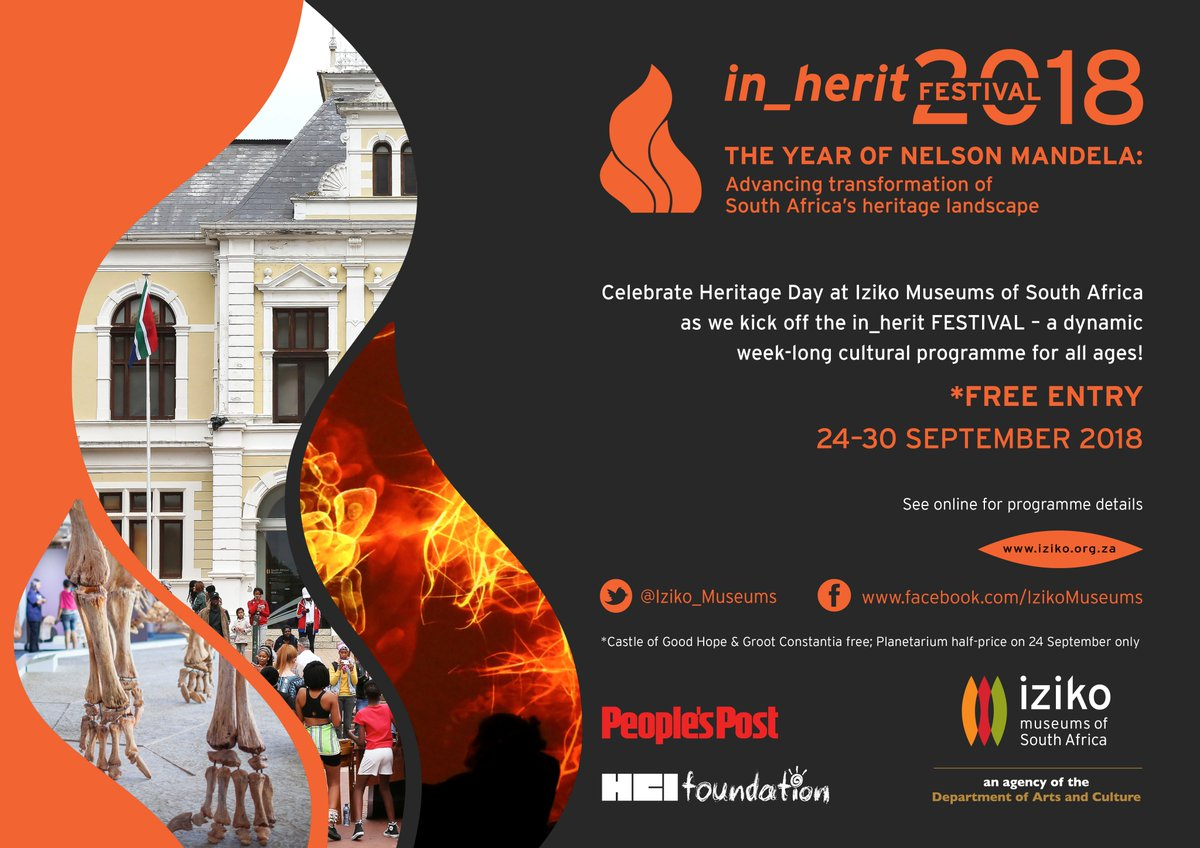 During Heritage Week from 24 to 30 September 2018 most Iziko Museums are free.