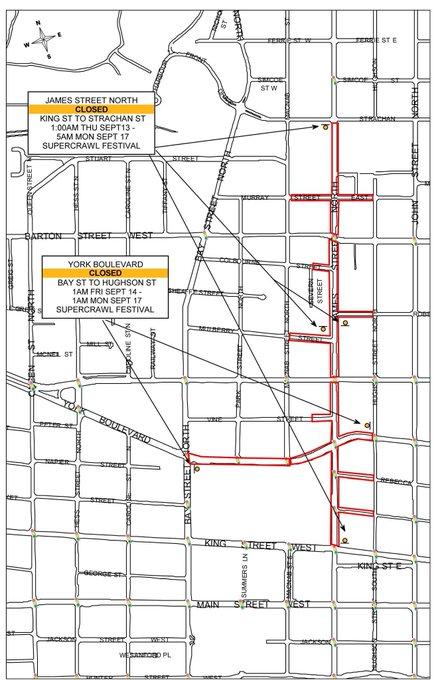 Downtown road closures for #Supercrawl weekend: JAMES St N (King-Strachan) and YORK Blvd (Bay-Hughson). @HSR detours: #HamOnt Photo