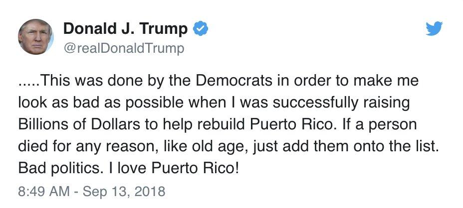 Pres Trump Tweets That 3000 People Did Not Die In The Two Hurricanes