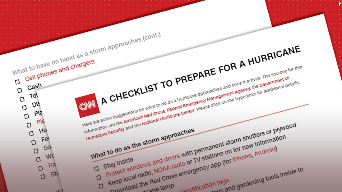 Heres a checklist of what to do -- and pack -- when a hurricanes coming cnn.it/2Oi5VhK