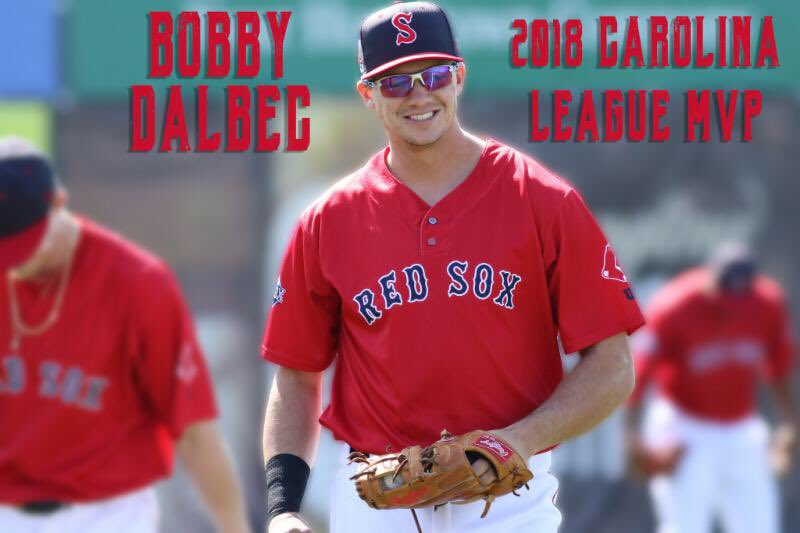 Congrats to @BobbyDalbec, your 2018 Carolina League MVP! He's the first Salem Red Sox player to win that award! Thanks for all the memories and #BobbyBombs! https://t.co/CXIXB7MHey https://t.co/zlhrFYgpXR