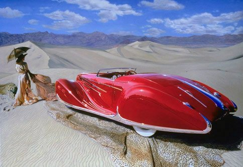 #transportationtuesday features a painting by Nicola Wood, who specializes in surrealist paintings of vintage cars, including this beauty with art deco lines. nicolawood.com