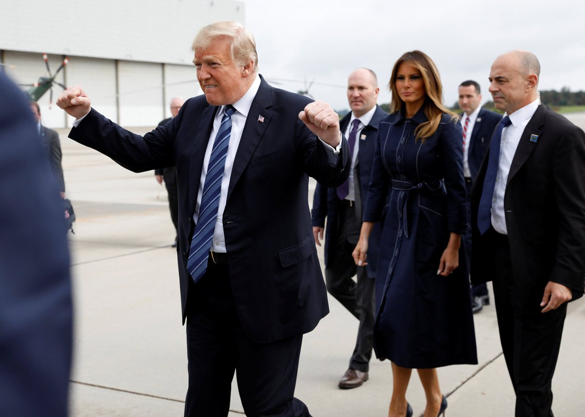 Donald Trump fist pumped on his way to a 9/11 memorial service and it's not going over well