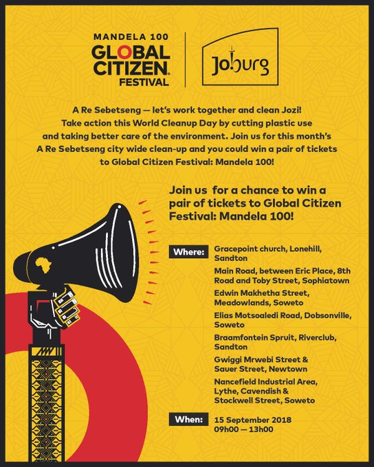 We are excited to partner with @CityofJoburgZA and Mayor @HermanMashaba on a city-wide clean up campaign. Come join us this Saturday, and stand a chance to win tickets to #GlobalCitizenFestivalSA #Aresebetseng Photo