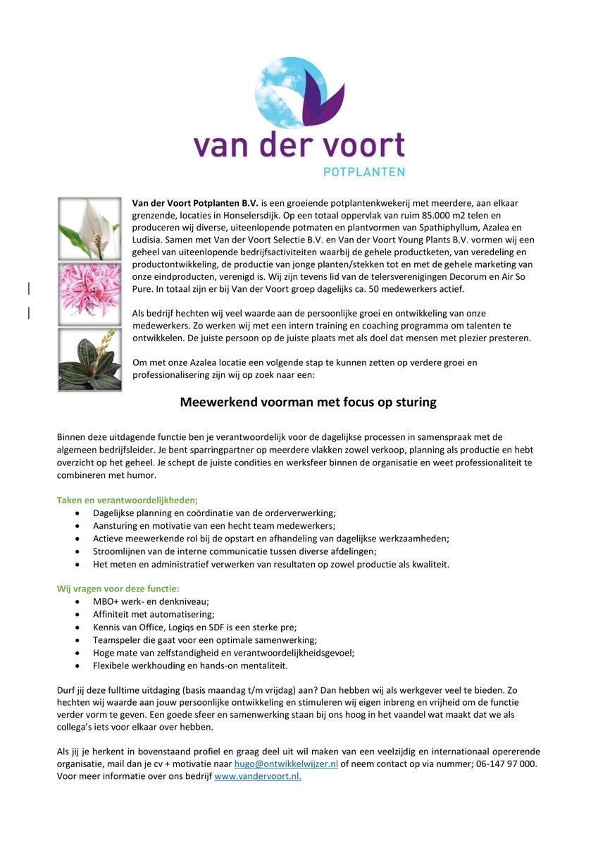 Vd Voort Potplanten على تويتر Vacature Meewerkend Voorman