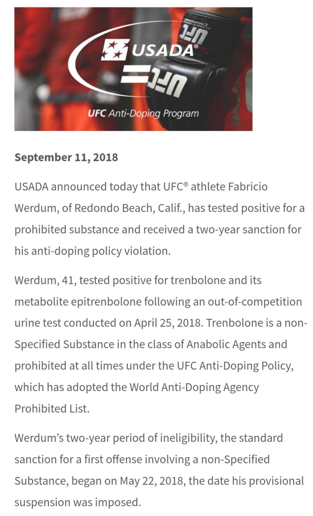 Fabricio Werdum gets 2 year suspension due to testing postitive for Trenbolone  Dm19wmqVAAEQdTQ