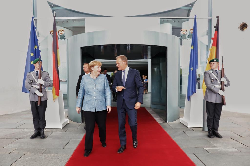 Good meeting in Berlin today with Chancellor Merkel ahead of #salzburgsummit18