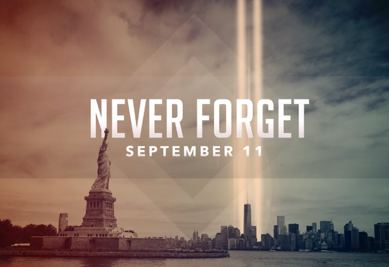 17 years ago our lives were forever changed. Today we remember and honor those who lost their lives. #neverforget