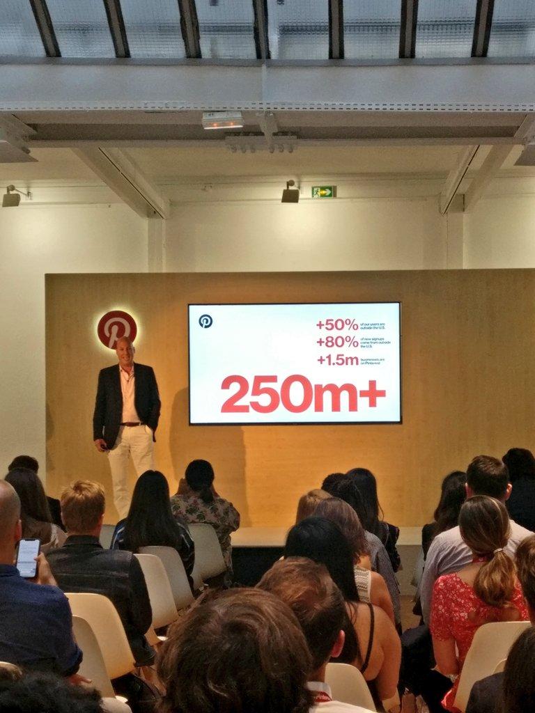 "Jon Kaplan, Head of Global Sales is announcing a key milestone "" we reached 250 million MAU"" #pinterestadslaunch"